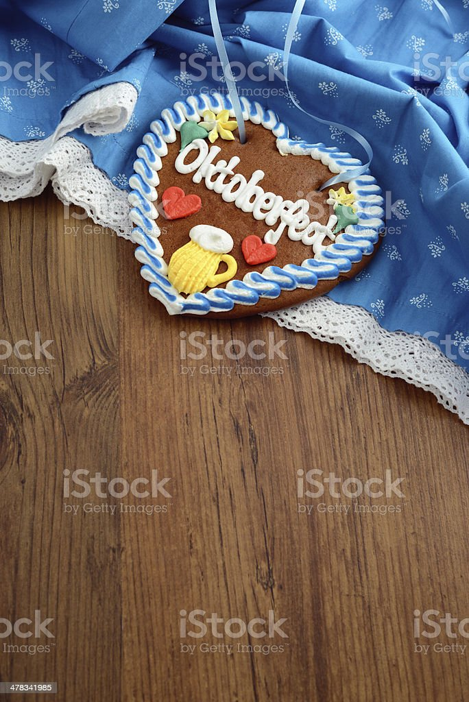 Oktoberfest Dirndl with gingerbread heart and copy space royalty-free stock photo