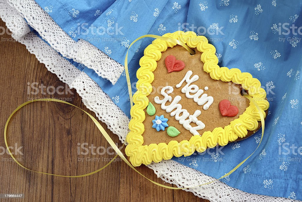 Oktoberfest Dirndl with gingerbread heart royalty-free stock photo