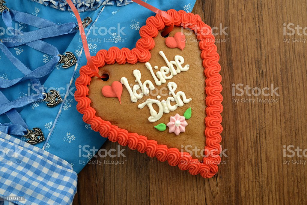 Oktoberfest Dirndl with i love you gingerbread heart royalty-free stock photo
