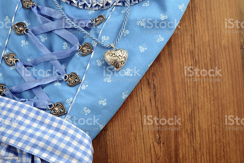 Oktoberfest Dirndl with info sign copy space royalty-free stock photo