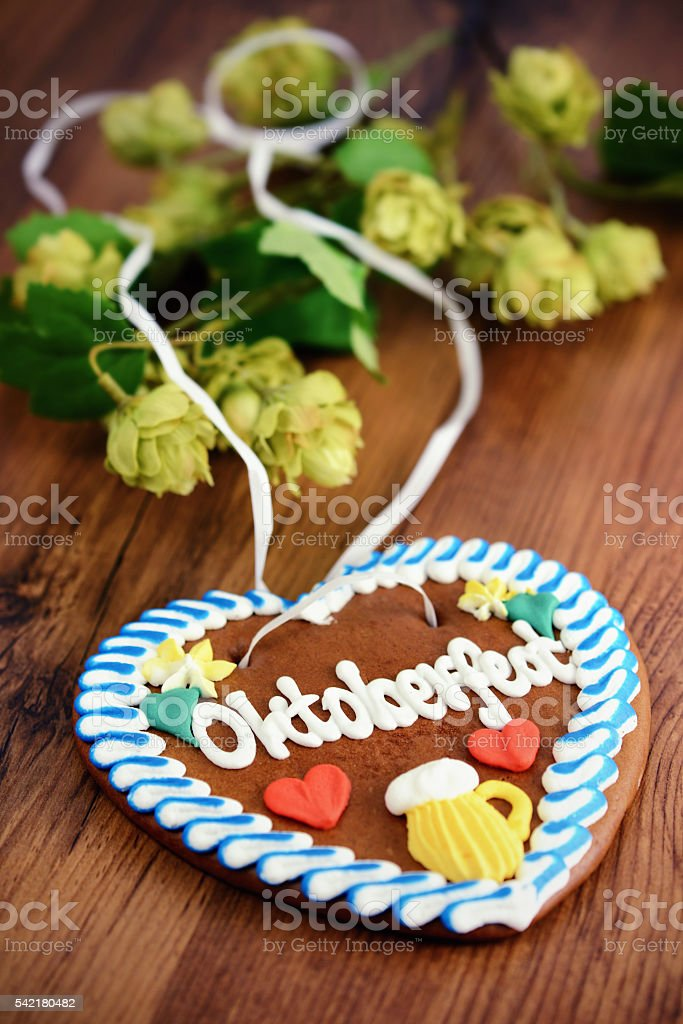 Oktoberfest gingerbread cake heart on wooden table with hop plant stock photo