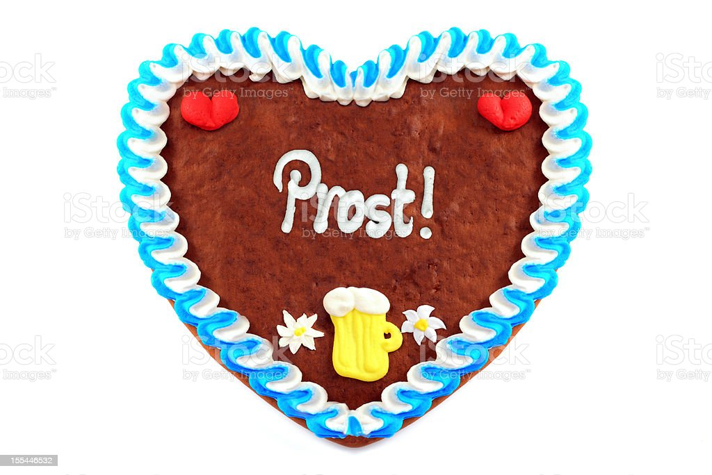 Oktoberfest Gingerbread Cookie in heart shape stock photo