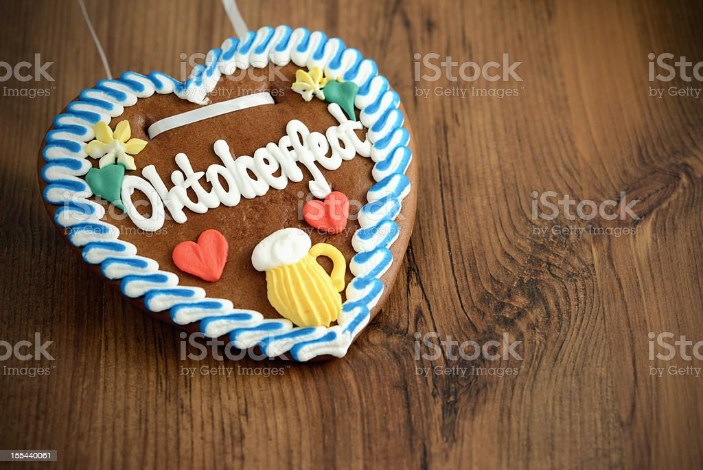 Oktoberfest Gingerbread Cookie on table with copy space stock photo