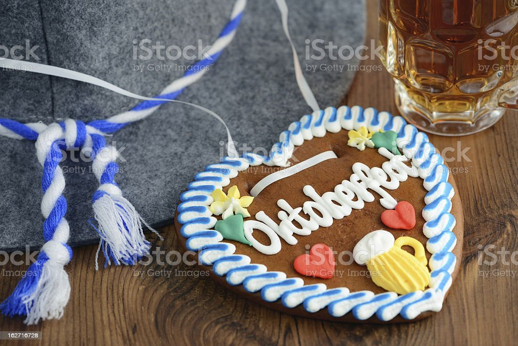 Oktoberfest Gingerbread Cookie with hat and beer royalty-free stock photo