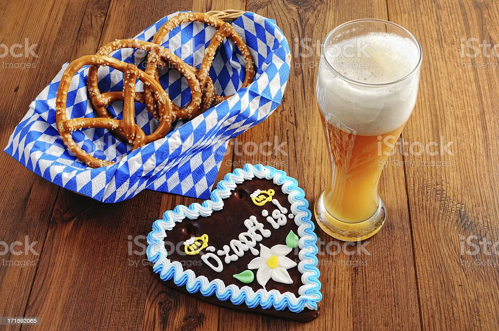 Oktoberfest Gingerbread heart with Pretzel and glass wheat beer royalty-free stock photo
