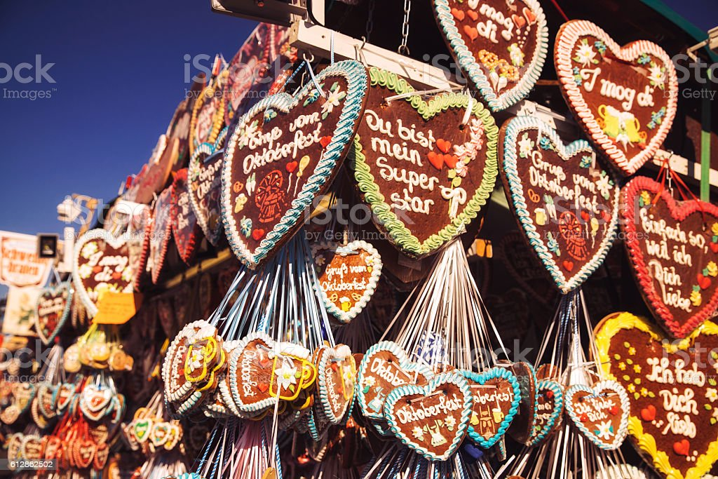 Oktoberfest Gingerbread hearts, Munich, Germany stock photo