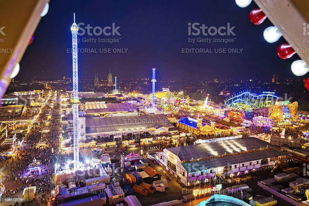 Oktoberfest in Munich at dusk, Germany royalty-free stock photo