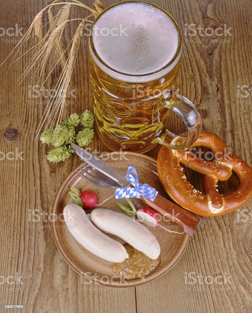 Oktoberfest menu - beer, white sausage, pretzel, radish, HDR stock photo