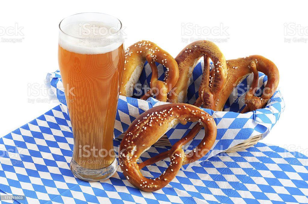 Oktoberfest objects like glass of wheat beer and Pretzel royalty-free stock photo