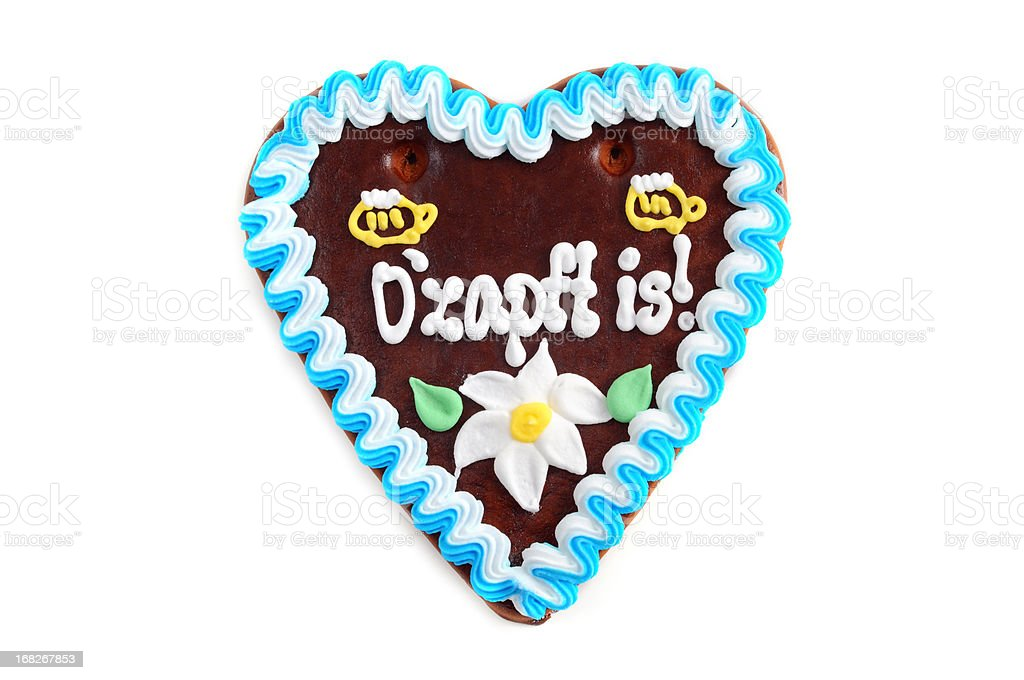 Oktoberfest Ozapft is Gingerbread Cookie in heart shape stock photo