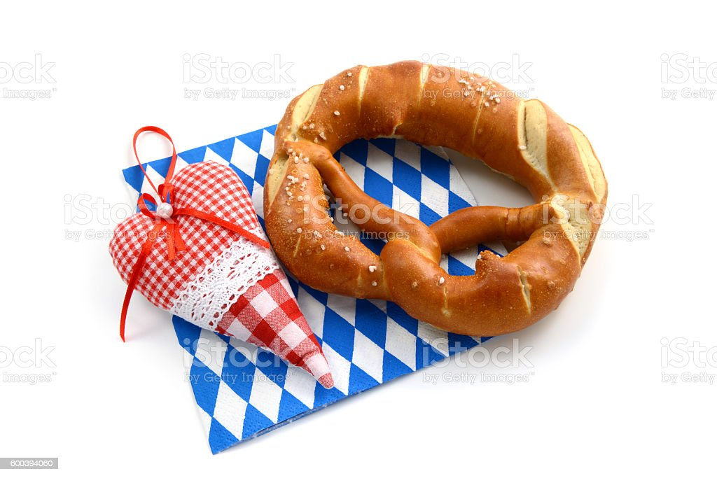 Oktoberfest Pretzel with heart shape pillow stock photo