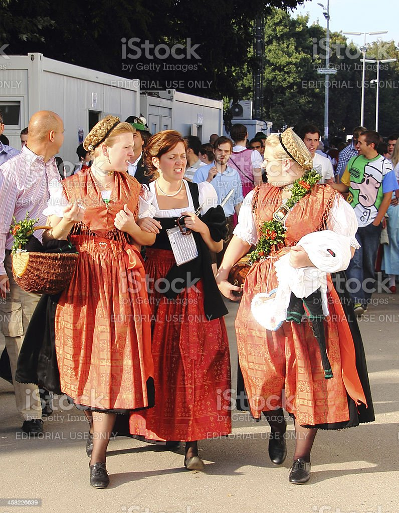 oktoberfest_3 women in costumes stock photo