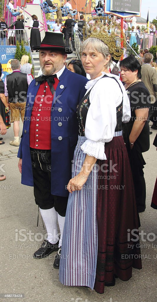 Oktoberfest_couple in costumes stock photo