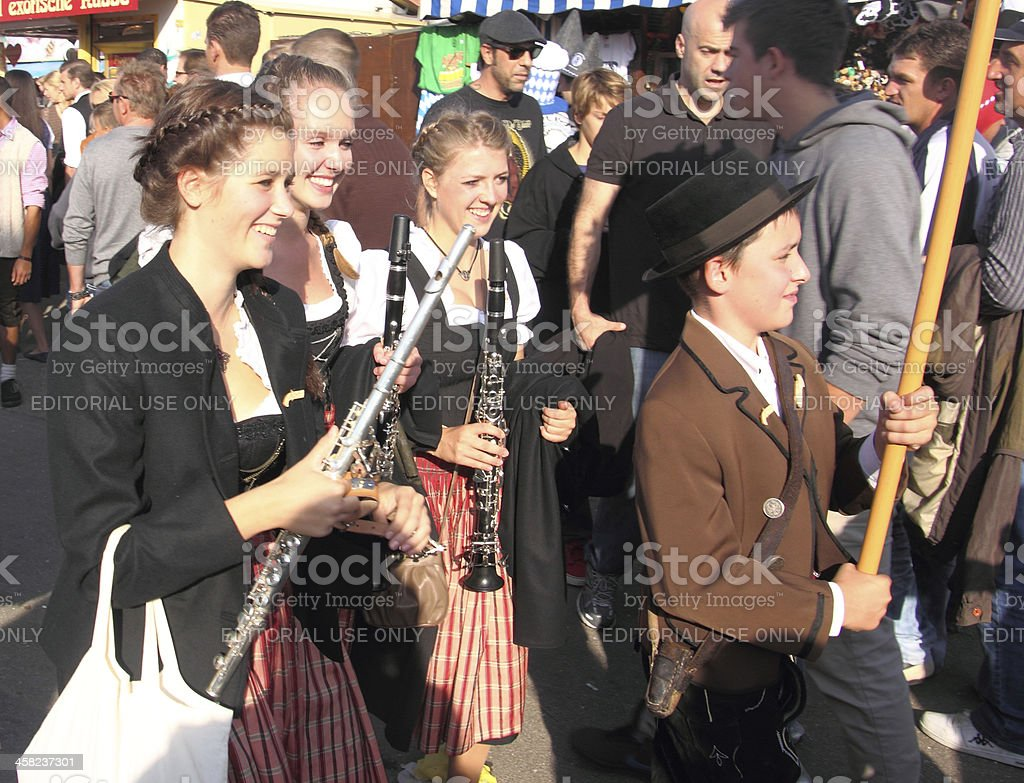 Oktoberfest_girls with flutes stock photo