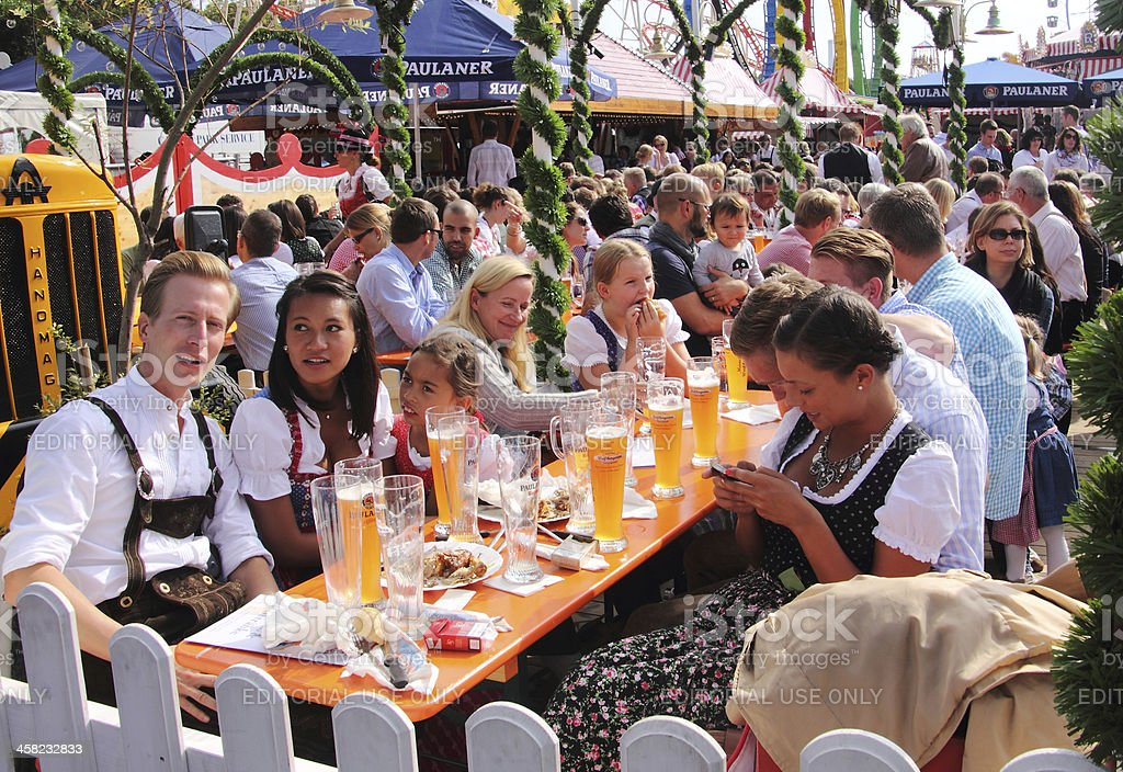 Oktoberfest_in the beer garden stock photo