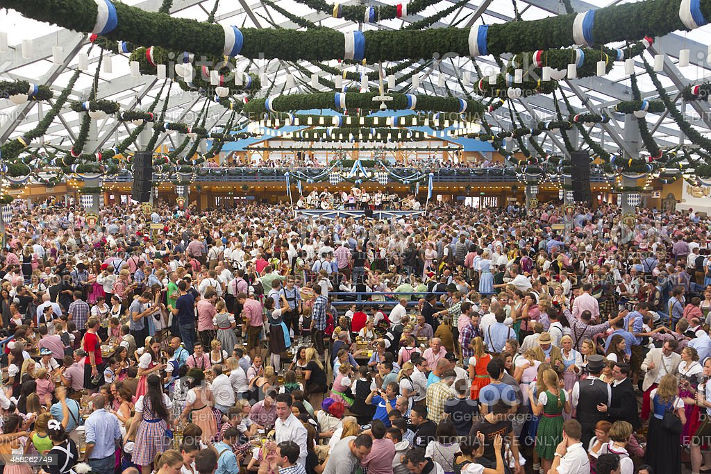 oktoberfest_inside the big beer tent stock photo
