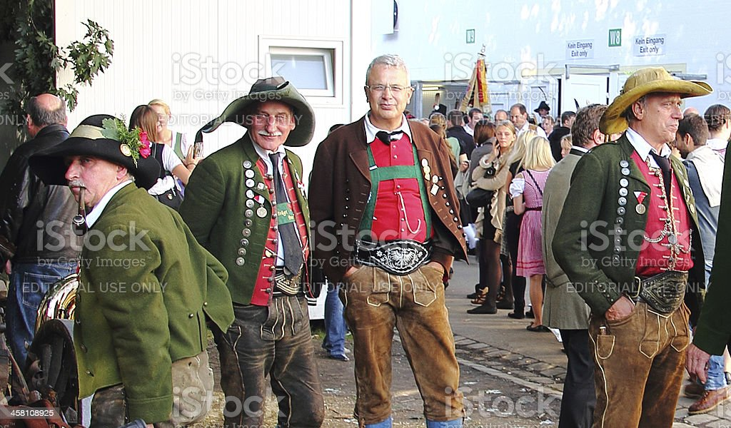 oktoberfest_real bavarian costumes 2 stock photo