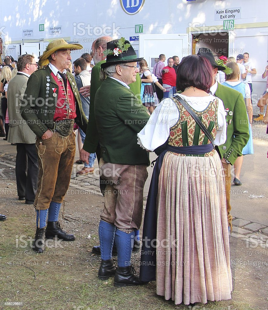 oktoberfest_real bavarian costumes stock photo
