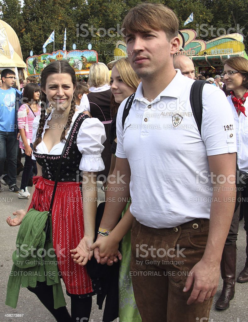 Oktoberfest_young couple in costumes stock photo