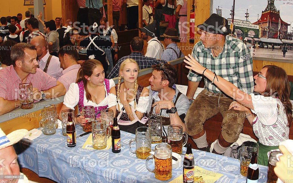 oktoberfest_Young people in the beer ten 5 stock photo