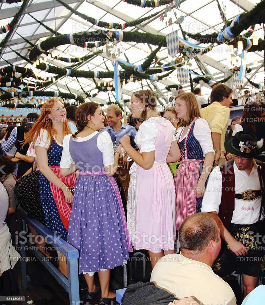 oktoberfest_young people in the beer tent 2 stock photo