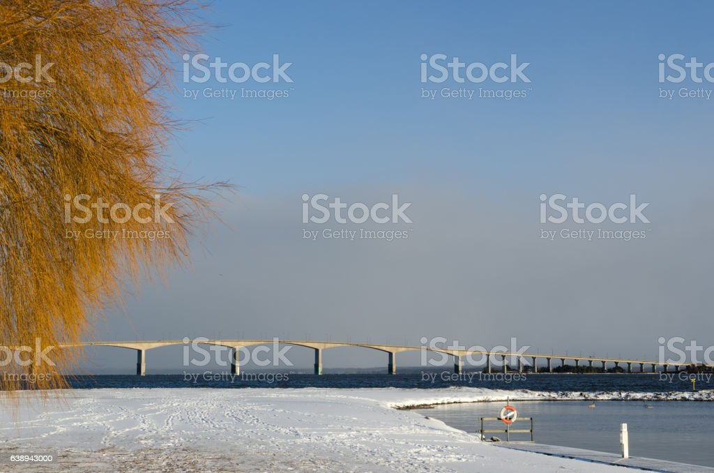 Oland Bridge and snowy landscape stock photo