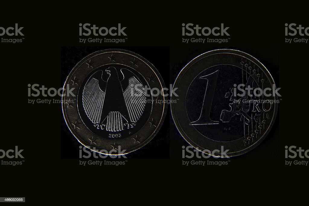 old 1 euro coin eurocent stock photo