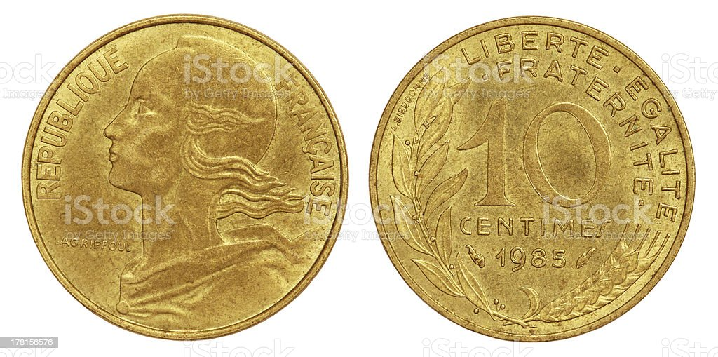 Old 10 Centimes Coin of France royalty-free stock photo