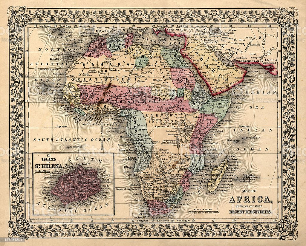 old 1800's map of africa stock photo