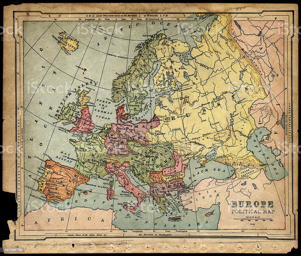 old 1800's political europe map stock photo