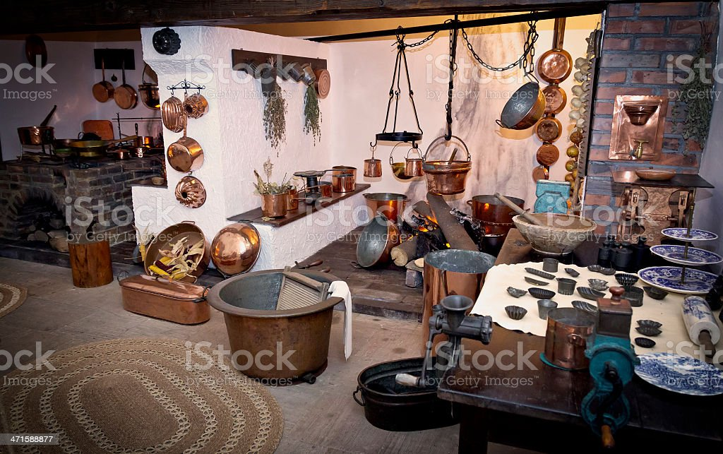 Old 18th century style  kitchen interior stock photo