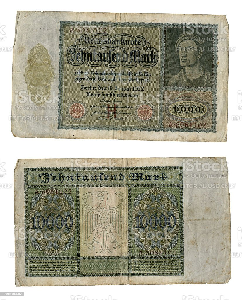 Old 1922 German banknote, 10,000 marks ('Vampire' note) stock photo