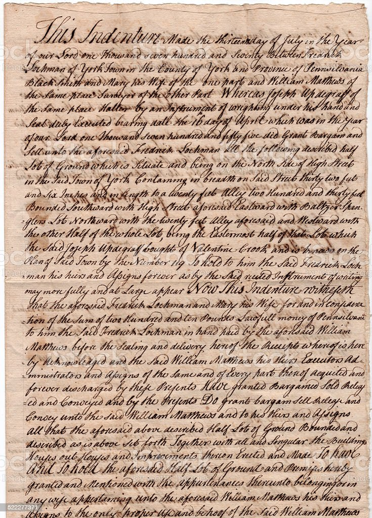 Old 200 Year Parchment Document With Old Style Cursive Writing stock photo