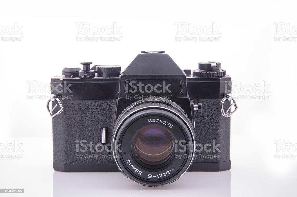 Old 35 mm film camera royalty-free stock photo