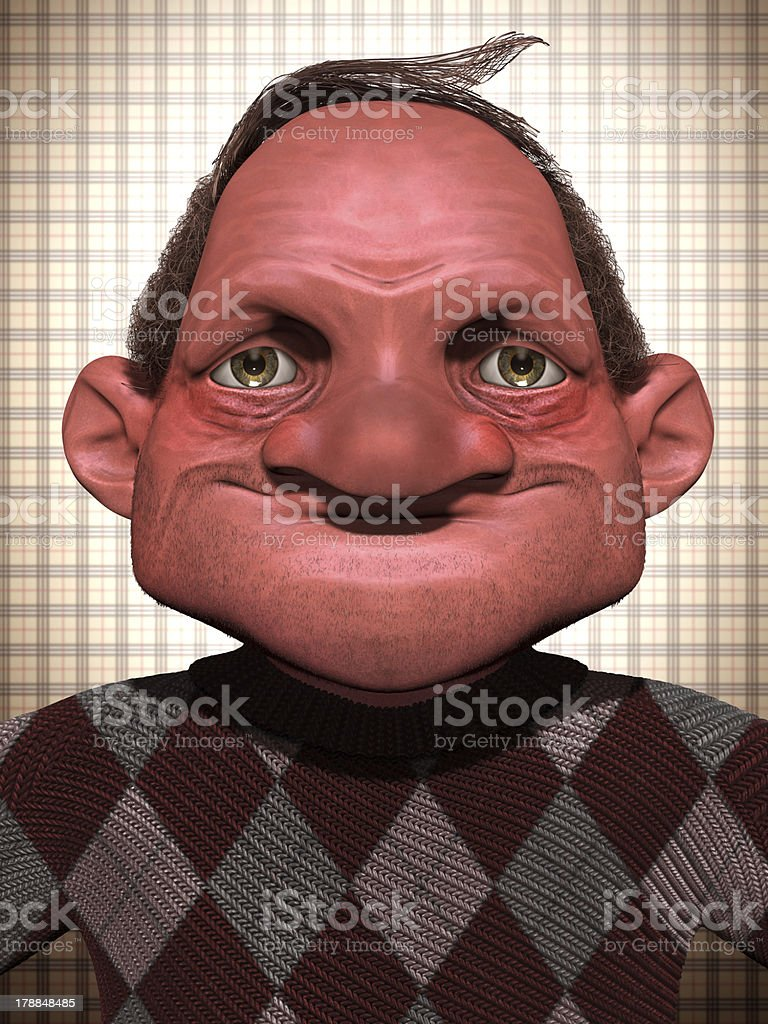 Old 3d cartoon man royalty-free stock photo