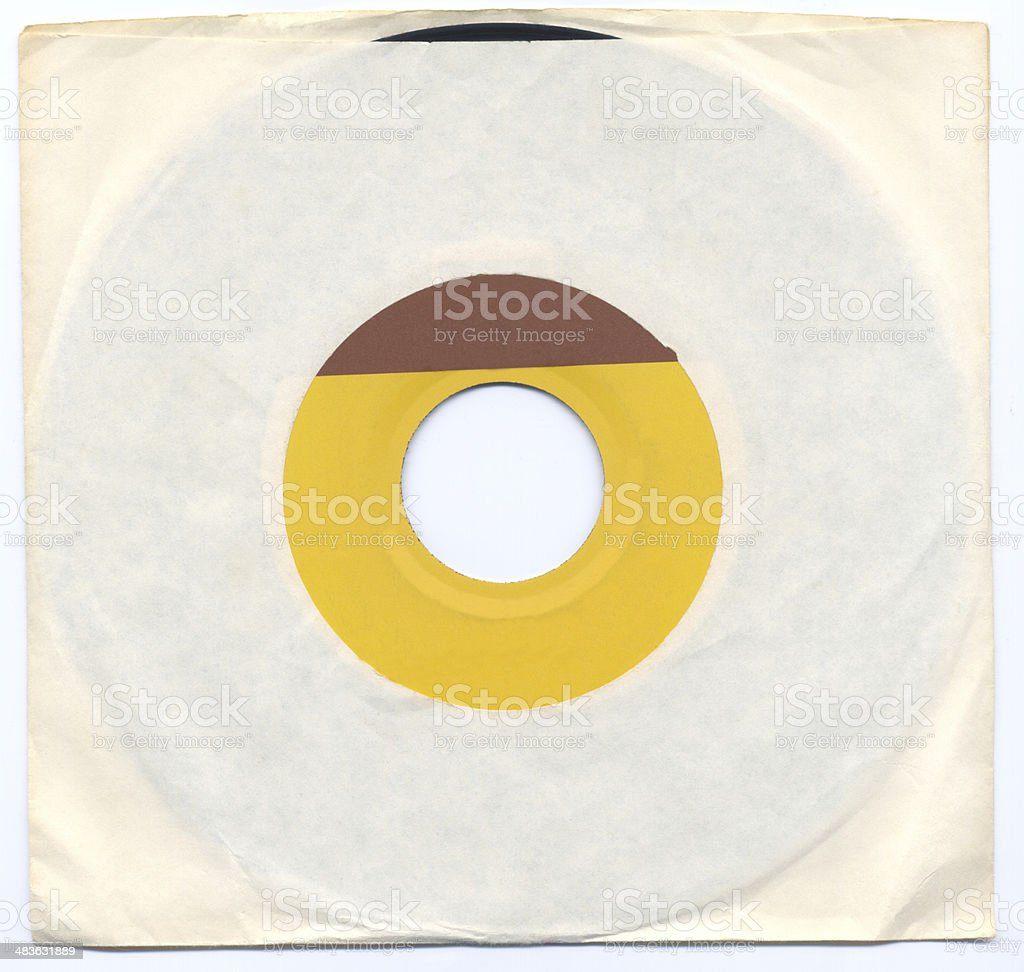 Old 45 record with sleeve stock photo