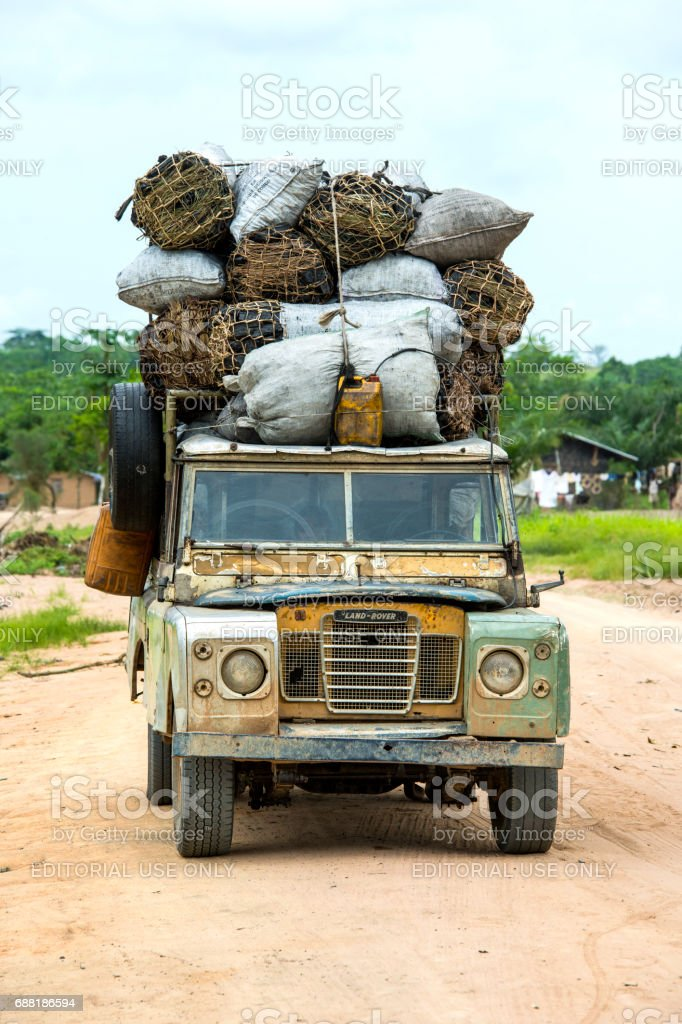 old 4wd with a heavy load of charcoal, Congo stock photo