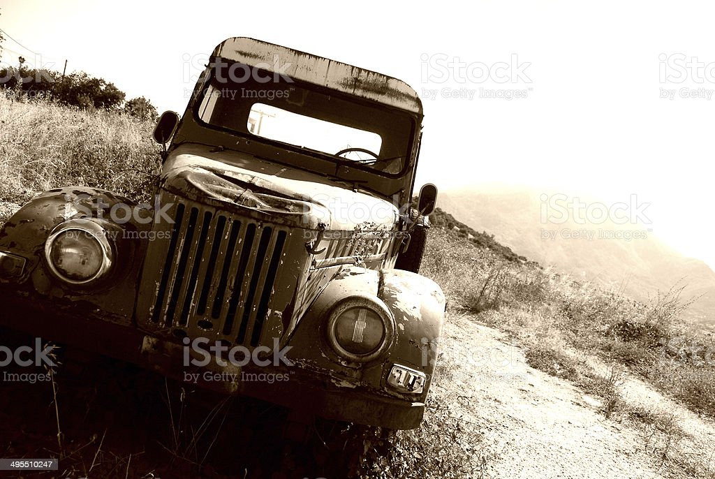Old 50's Rusty Pickup Truck stock photo