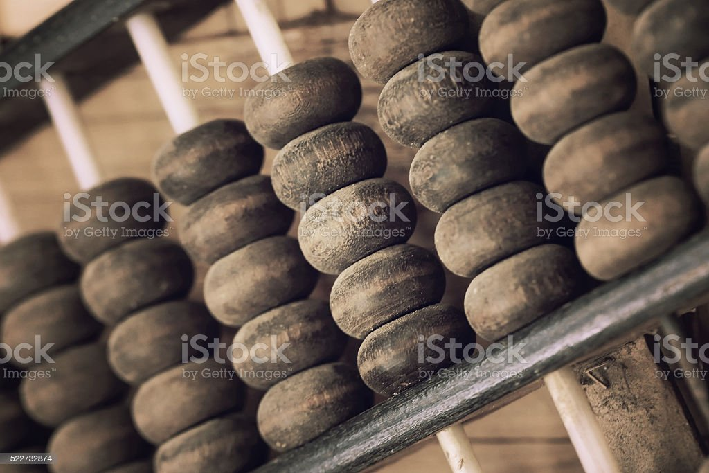 Old abacus, image process in vintage toned for background. stock photo