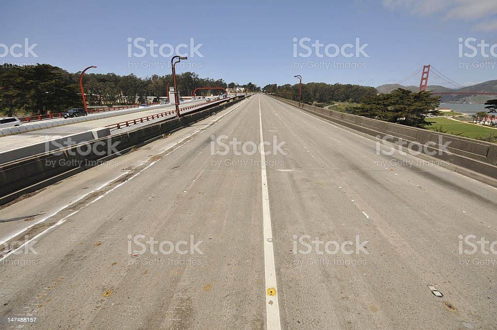 Old abandend roadway next to new one royalty-free stock photo