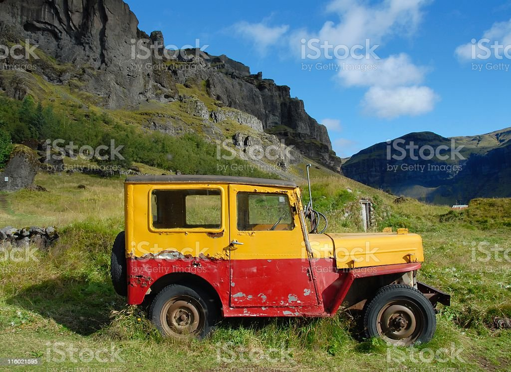 Old abandonded jeep stock photo