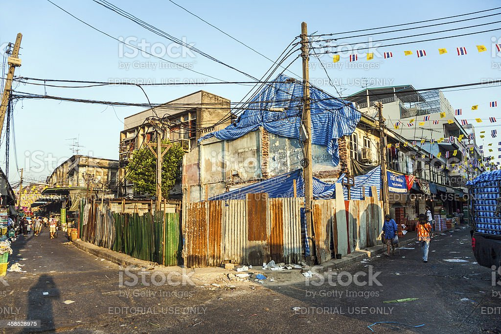 old abandoned and rotten houses in Chinatown near Yaorwarat road royalty-free stock photo