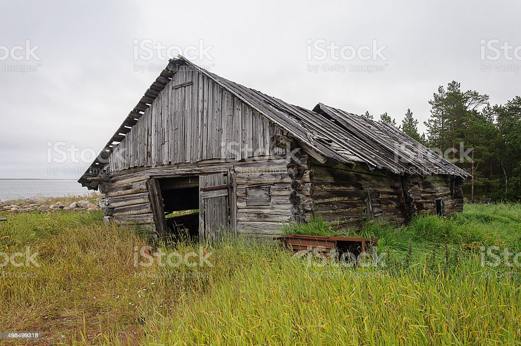 Old abandoned barn log cabin on the beach stock photo