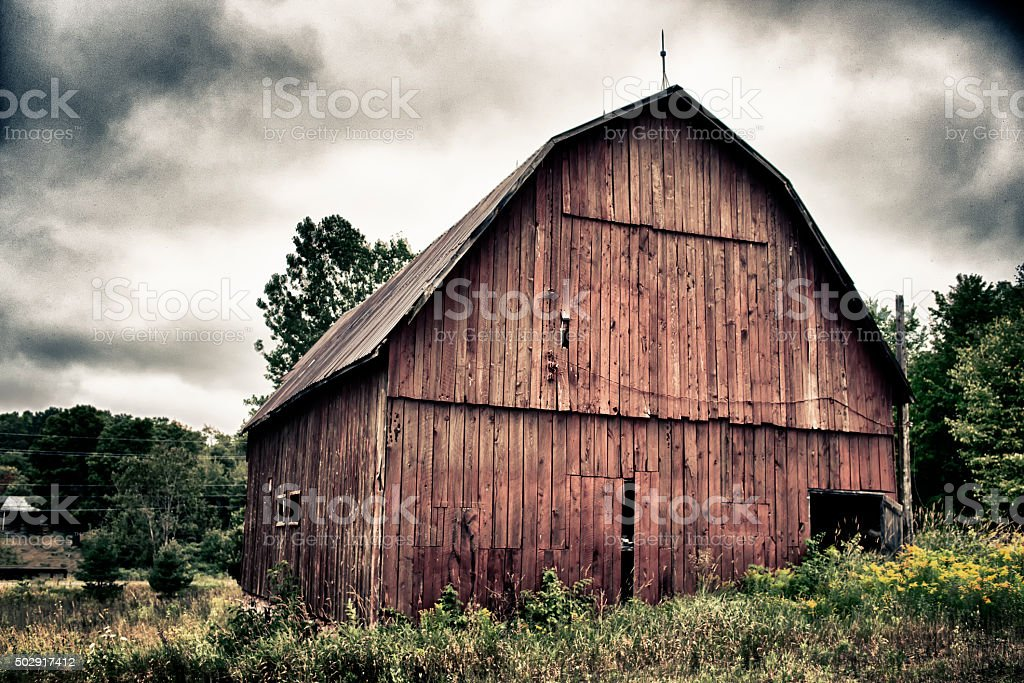 Old abandoned barn stock photo