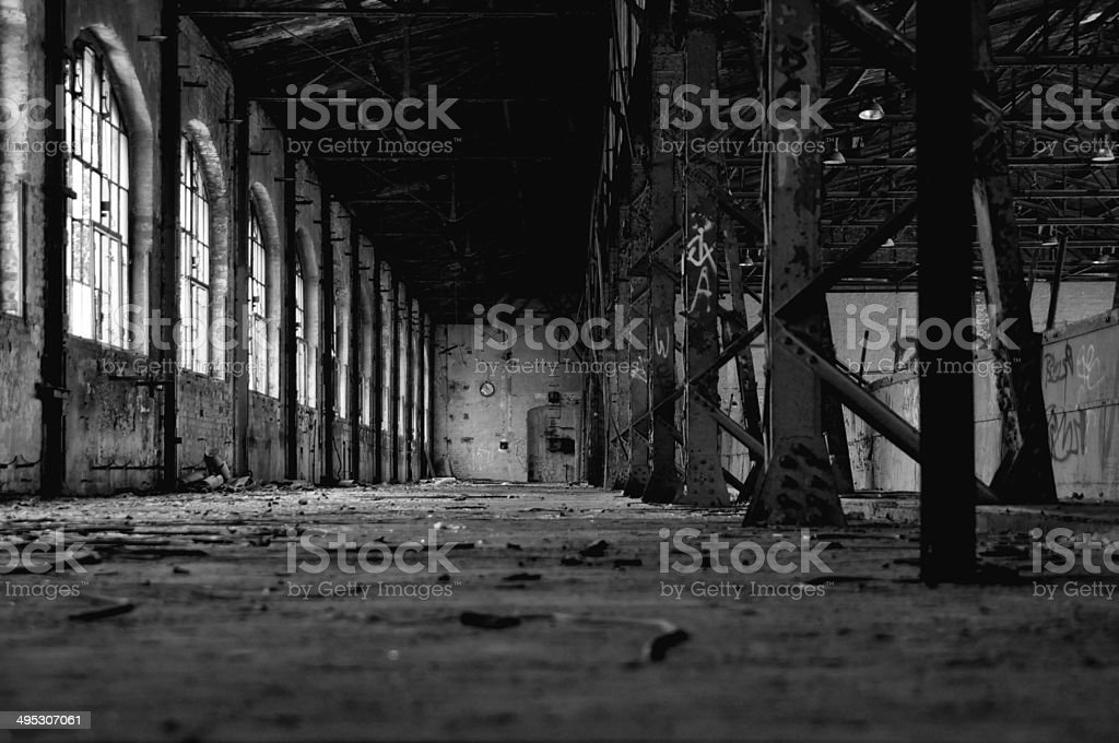 Old abandoned building in East Germany stock photo