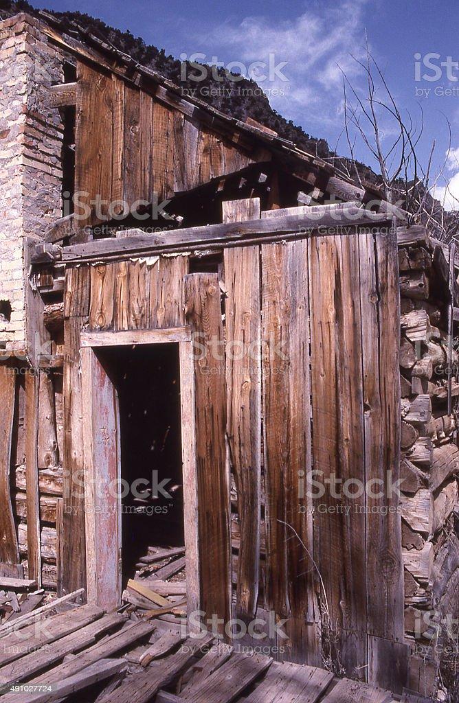 Old abandoned buildingsTintic Ghost Mining Town near Eureka Utah stock photo