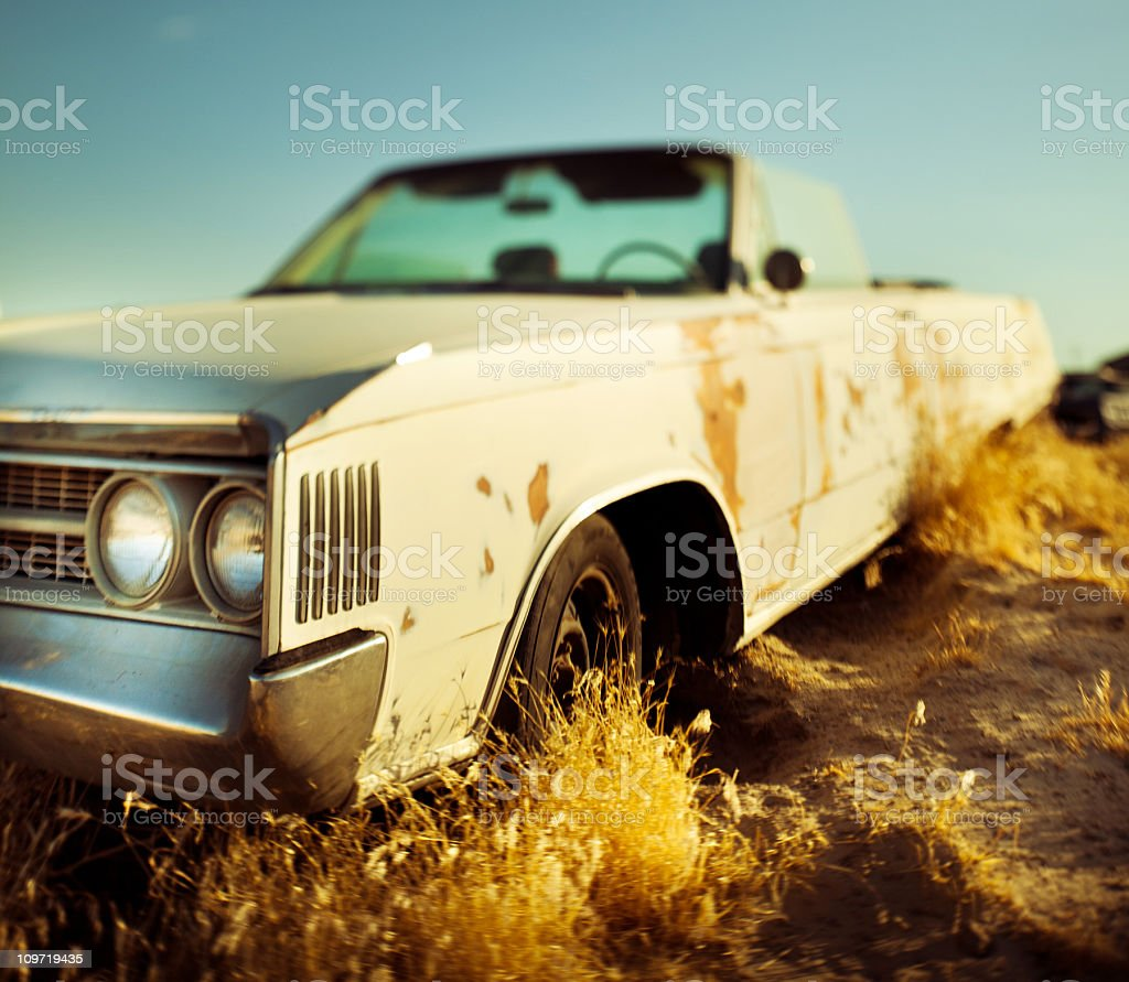 old abandoned car stock photo