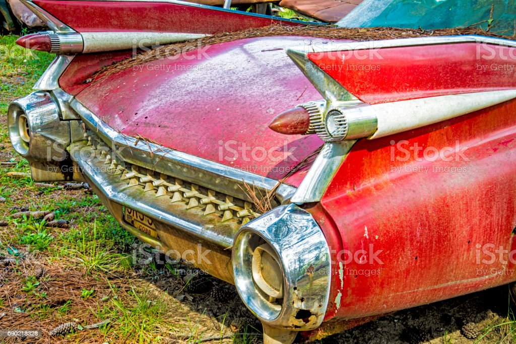 Old abandoned car with wings. stock photo