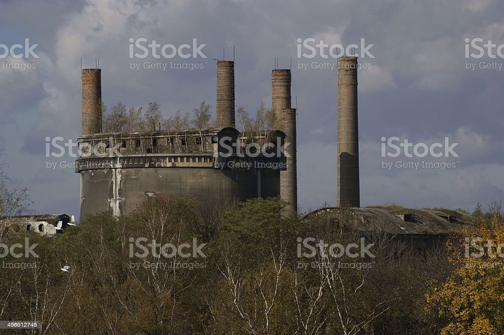 Old, abandoned cement plant stock photo