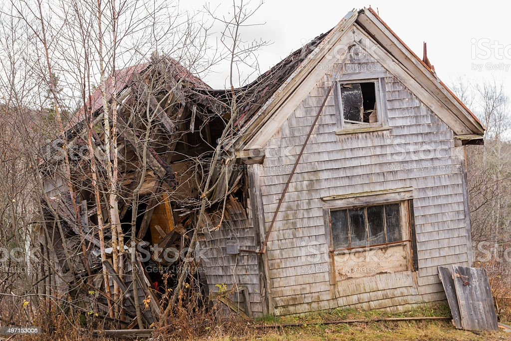 Old Abandoned Collapsing House stock photo